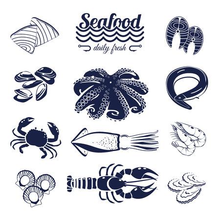 Set van monotone cartoon zee voedingselementen - tonijn, zalm, mosselen, krab, kreeft, enzovoort. Vector illustratie, die op transparante achtergrond, Stock Illustratie
