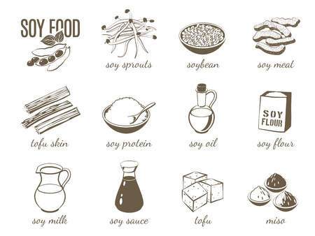 Set of monochrome cartoon soy food illustrations - soy milk, soy sauce, soy meat, tofu, miso and so on. Vector illustration, isolated on transparent background,