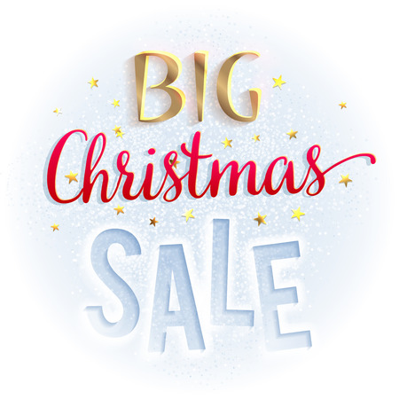 december: Big Christmas sale sign, bright and colorful. Design template for brochures, and so. illustration isolated on white. Illustration
