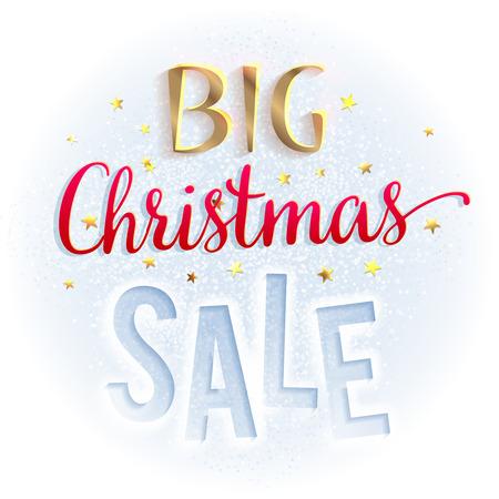 diciembre: Signo de la gran venta de Navidad, brillante y colorido. plantilla de diseño de folletos, y así. ilustración aislado en blanco.
