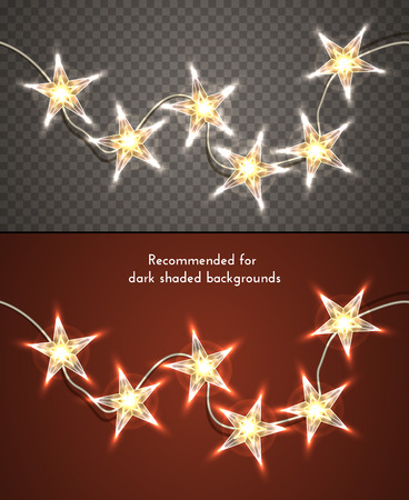 星型透明の背景上のクリスマスの照明。