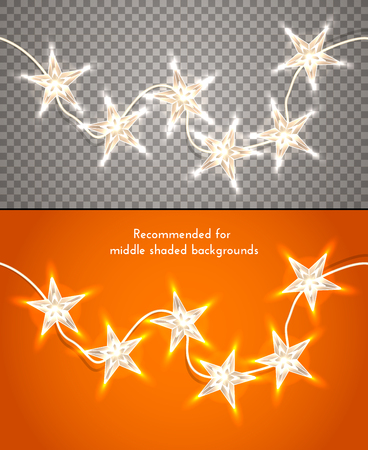 holiday garland: Star-shaped christmas lights on transparent background.