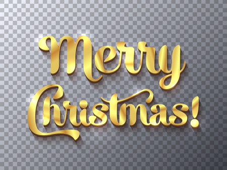 Merry Christmas golden sign on transparent background