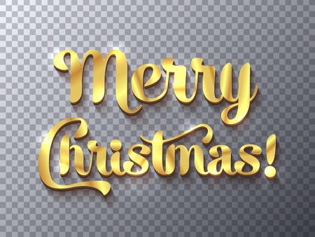 Muestra de oro de la Feliz Navidad en el fondo transparente