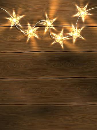 modèle de conception de Noël et de Nouvel An avec fond en bois et des lumières en forme d'étoile.