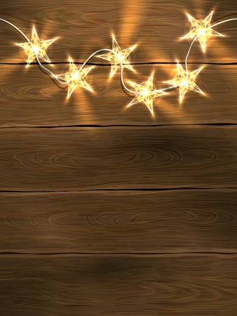 christmas gifts: Christmas and New Year design template with wooden background and star-shaped lights.