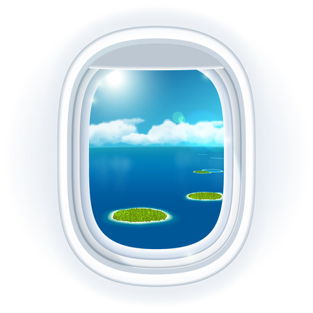 looking through an object: Realistic aircraft porthole (window) with blue sea or ocean in it and small tropical islands, view through travelling over the sea. illustration, isolated on white. Illustration