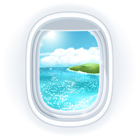 view window: Realistic aircraft porthole (window) with bright sea or ocean in it and tropical island, view through travelling over the sea. illustration, isolated on white. Illustration