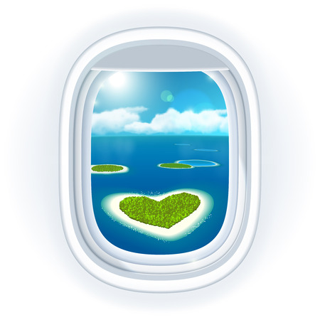 ocean view: Realistic aircraft porthole (window) with blue sea or ocean in it and small tropical islands, one island is heart-shaped, view through travelling over the sea. illustration, isolated on white. Illustration