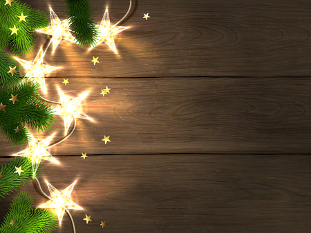 Christmas and New Year design template with wooden background, star-shaped lights, fir branches and confetti.