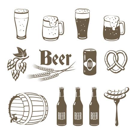 Set of monochrome, lineart food icons: beer - light and dark beer, mugs, bottles, hop cones, barley, beer keg, pretzel and sausages.