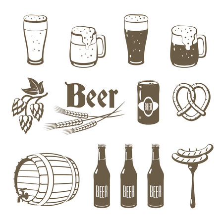 Set of monochrome, lineart food icons: beer - light and dark beer, mugs, bottles, hop cones, barley, beer keg, pretzel and sausages.