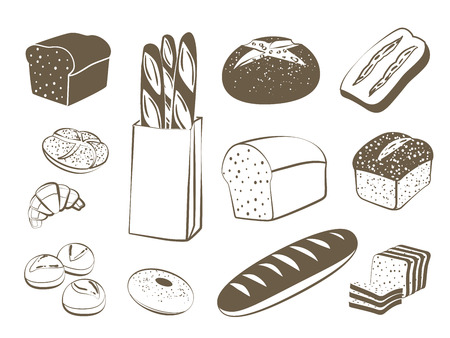 Set of monochrome, lineart food icons: bread - rye bread, ciabatta, wheat bread, whole grain bread, bagel, sliced bread, french baguette, croissant and so.