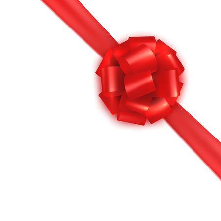 lazo regalo: envoltura de regalos corbata de lazo de satén de seda roja realista. diseño de la plantilla de certificado, vale, tarjeta de regalo, folleto. Ilustración colorida del vector aislado en blanco. Vectores