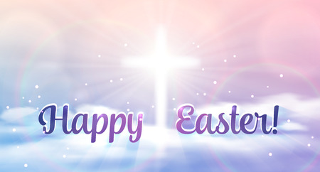 christianity: Easter banner with text Happy Easter, shining across and heaven with white clouds. Vector illustration background.