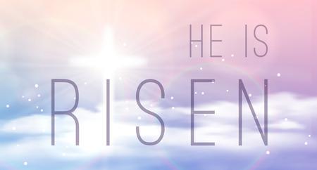 bannière de Pâques avec le texte «Il est ressuscité», qui brille à travers et le ciel avec des nuages ??blancs. Vector illustration de fond. Vecteurs