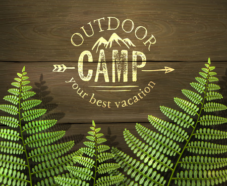 fern leaf: Outdoor camp, your best vacation sign with green fern leafs on wooden background. Realistic vector illustration.