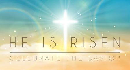 Bandeira de Easter com texto 'Ele ressuscitou', brilhando transversalmente e céu com nuvens brancas. Vector a ilustração de fundo.