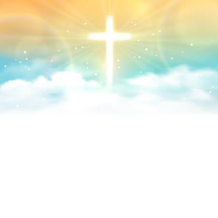 Achtergrond met schijnt over en de hemel met witte wolken. Vector illustratie, eps10. Stock Illustratie