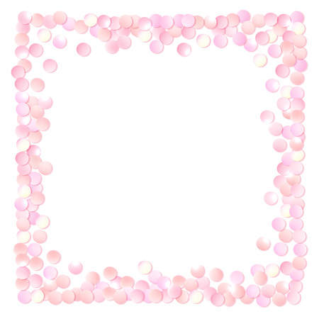 Pink realistic square confetti frame, design template for gift, certificate, voucher, AD brochure and so. Colorful vector illustration isolated on white. Stock Illustratie