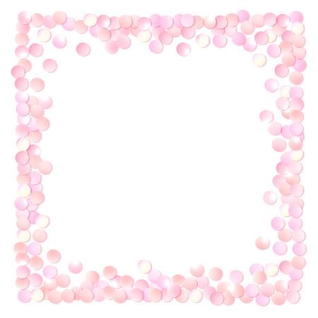 Roze realistische vierkant confetti frame, design template voor cadeau, certificaat, bon, AD brochure en zo. Kleurrijke vector illustratie geïsoleerd op wit. Stock Illustratie