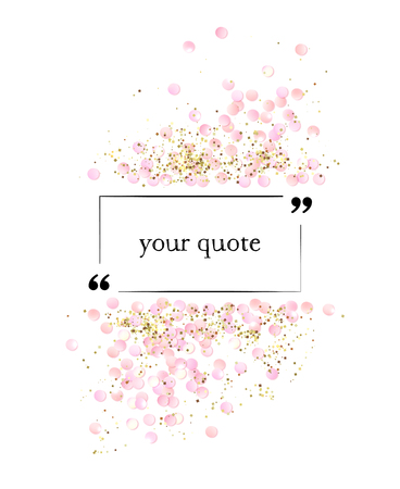 Pink realistic confetti frame with quote, design template, certificate template, voucher template, AD template, brochure template, and so. Colorful vector illustration isolated on white. Çizim