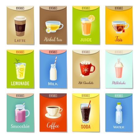 Set of AD-cards/banners/tags/package labels with cartoon beverages: latte/herbal tea/juice/tea/lemonade/milk/hot chocolate/milkshake/smoothie/coffee/soda/water. Colorful vector illustration.
