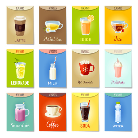 Set of AD-cards/banners/tags/package labels with cartoon beverages: latte/herbal tea/juice/tea/lemonade/milk/hot chocolate/milkshake/smoothie/coffee/soda/water. Colorful vector illustration.