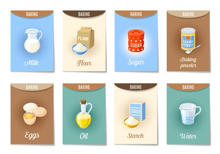 Set von AD-Karten (Banner, Etiketten, Paket) mit Cartoon Backzutaten - Mehl, Eier, Öl, Wasser, Stärke, Backpulver, Milch, Zucker. Vektor-Illustration, isoliert auf weiß, EPS 10.