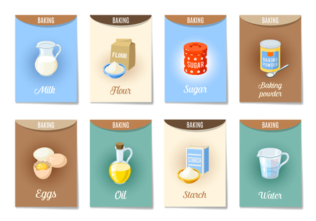 Set of AD-cards (banners, tags, package) with cartoon baking ingredients - flour, eggs, oil, water, starch, baking powder, milk, sugar. Vector illustration, isolated on white, eps 10. Illustration