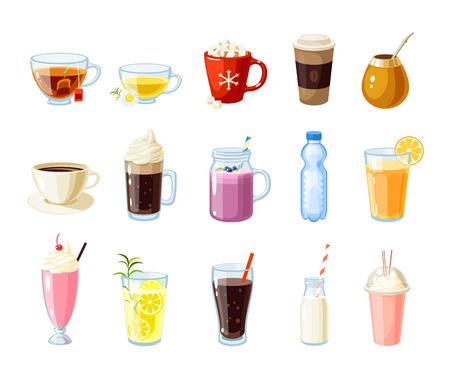 calor: Conjunto de alimentos de dibujos animados: bebidas no alcohólicas - té, infusiones, chocolate caliente, café con leche, mate, café, cerveza de raíz, batido de frutas, zumo, batido de leche, limonada y así. Ilustración vectorial, aislado en blanco.