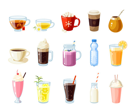 roots: Set of cartoon food: non-alcoholic beverages - tea, herbal tea, hot chocolate, latte, mate, coffee, root beer, smoothie, juice, milk shake, lemonade and so. Vector illustration, isolated on white.