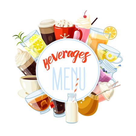 Etichetta rotonda con bevande analcoliche - tè, cioccolata calda, latte, caffè, succo di frutta, frullato, frappè, limonata e così. il modello di disegno, cornice, banner. Illustrazione vettoriale, isolato su bianco, eps 10.