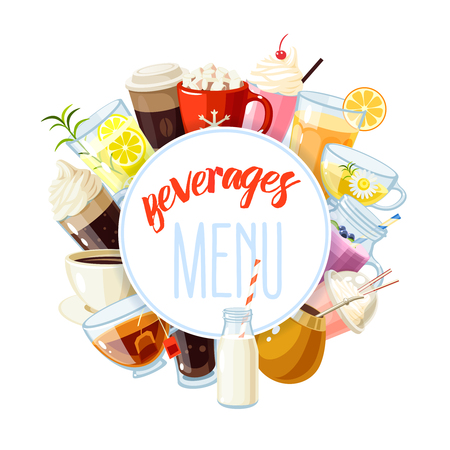 summer cartoon: Round label with non-alcoholic beverages - tea, hot chocolate, latte, coffee, smoothie, juice, milkshake, lemonade and so. Design template, frame, banner. Vector illustration, isolated on white, eps 10.
