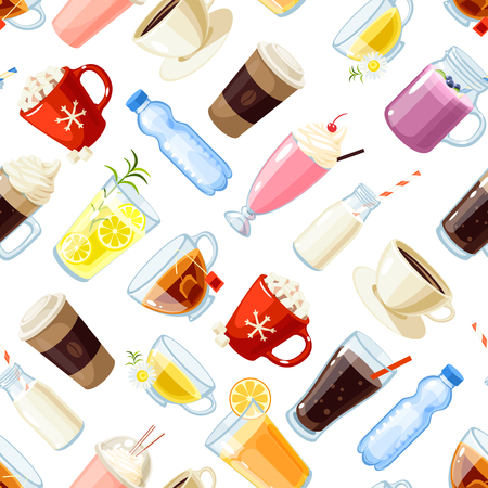 Seamless pattern with cartoon food: non-alcoholic beverages - tea, herbal tea, hot chocolate, latte, mate, coffee, root beer, smoothie, juice, milk shake, lemonade and so. Vector illustration.