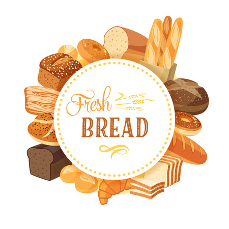 wheat grain: Round label with bread assortment: rye, ciabatta, wheat, whole grain, bagel, sliced, french baguette, croissant and so. Design templateframebanner. Vector illustration, isolated on white, eps 10. Illustration