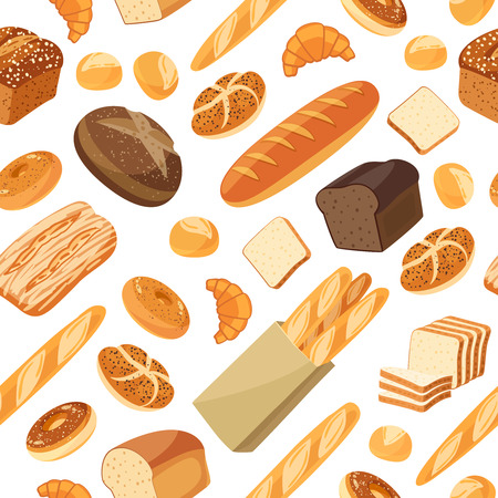 white bread: Seamless pattern with cartoon food: bread - rye bread, ciabatta, wheat bread, whole grain bread, bagel, sliced bread, french baguette, croissant and so. Vector illustration, isolated on white, eps 10. Illustration