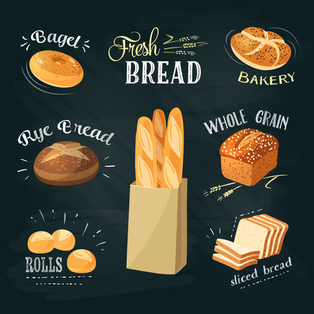 Chalkboard bakery ADs set: bagel / bread / rye bread / ciabatta / wheat bread / whole grain bread / sliced bread / french baguette / croissant. Stylish bakery goods template. Vector illustration.
