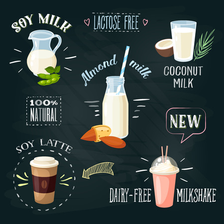 milk bottle: Chalkboard lactose-free beverages ADs set: soy milk  coconut milk  almond milk  soy latte  dairy-free milkshake. Lactose intolerance. Stylish template. Vector illustration.