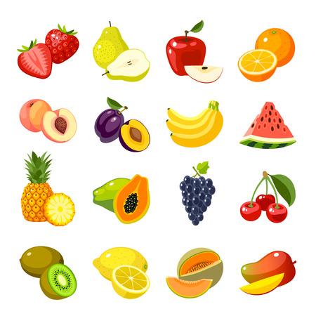 Set of colorful cartoon fruit icons: strawberry icon/pear icon/apple icon/orange icon/lemon icon/banana icon/watermelon icon/pineapple icon/papaya icon/cherry icon, mango and so. Isolated on white. Vettoriali