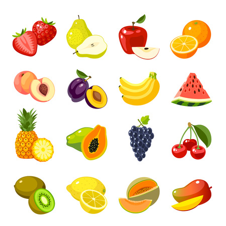 Set of colorful cartoon fruit icons: strawberry icon/pear icon/apple icon/orange icon/lemon icon/banana icon/watermelon icon/pineapple icon/papaya icon/cherry icon, mango and so. Isolated on white. Stock Illustratie