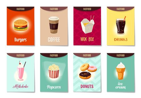 Set van AD-cards (banners, markeringen, pakket) met cartoon fast food - hamburger, koffie, wok box, soda, milkshake, popcorn, donuts en ijs. Vector illustratie, geïsoleerd op wit