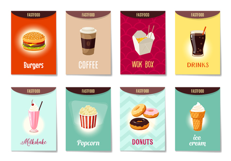Set of AD-cards (banners, tags, package) with cartoon fast food - hamburger, coffee, wok box, soda, milk shake, popcorn, donuts and ice cream. Vector illustration, isolated on white