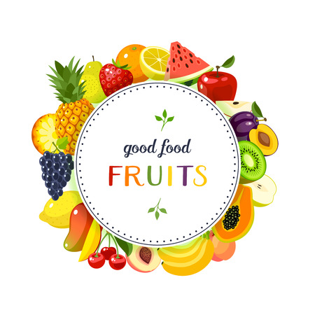 Round label with fruits: apple, strawberry, orange, plum, banana, watermelon, pineapple, papaya, cherry, mango and so. Design template/frame/banner. Vector illustration, isolated on white