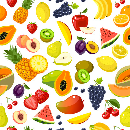 Seamless pattern with colorful cartoon fruits: strawberry, pear, apple, orange, peach, plum, banana, watermelon, pineapple, papaya, grape, cherry, kiwi, lemon, melon, mango. Vector, isolated on white. Stock Illustratie