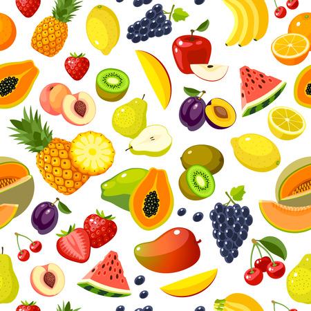 Seamless pattern con colorati frutti cartoni animati: fragola, pera, mela, arancia, pesca, prugna, banana, anguria, ananas, papaia, uva, ciliegie, kiwi, limone, melone, mango. Vettore, isolato su bianco.