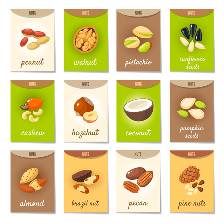 walnut: Set of AD-cards (banners, tags, package) with cartoon nuts - hazelnut, almond, pistachio, pecan, cashew, brazil nut, walnut, peanut, coconut, pumpkin seeds, sunflower seeds and pine nuts. Vector art. Illustration