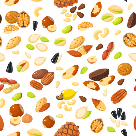pistachio: Seamless pattern with cartoon nuts - hazelnut, almond, pistachio, pecan, cashew, brazil nut, walnut, peanut, coconut, pumpkin seeds, sunflower seeds and pine nuts. Vector illustration, eps 10.