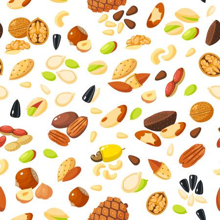 nutshell: Seamless pattern with cartoon nuts - hazelnut, almond, pistachio, pecan, cashew, brazil nut, walnut, peanut, coconut, pumpkin seeds, sunflower seeds and pine nuts. Vector illustration, eps 10.