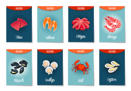 food illustration: Set of AD-cards (banners, tags, package) with cartoon sea food - tuna, salmon, octopus, shrimps, mussels, scallops,crab and oysters. Vector illustration, isolated on white, eps 10.